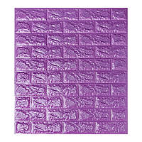 Стінова 3D панель, м'яка, самоклеюча, декоративна 3д самоклейка шпалери під цеглу Фіолетовий 700х770х7мм