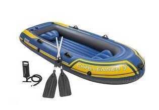 Intex Надувная лодка 68370 NP (2) Challenger 3, с алюминиевыми вёслами, в коробке