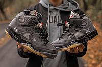 Мужские кроссовки Nike Air Jordan Retro 5 x Off white найк джордан 5 реплика