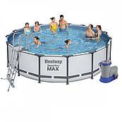 Каркасный бассейн Bestway 488 х 122 см (лестница, фильтр-насос, тент)
