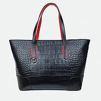Шкіряна сумка шоппер велика на плече 6002 чорна