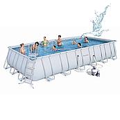 Каркасный бассейн Bestway 56475 (732х366х132) прямоугольный с песочным фильтром