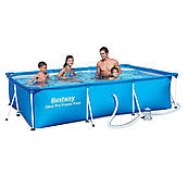Детский прямоугольный каркасный бассейн Bestway 56411 (300x201x66) с картриджным фильтром
