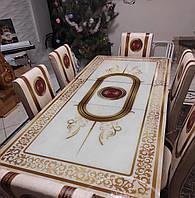 Комплект на кухню раскладной стол из закаленного стекла и 4 стула Металлический каркас (70*110) Турция