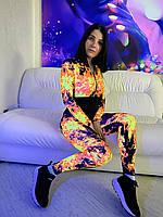 Женский спортивный комбинезон светящийся в темноте Оранжевые Огни.