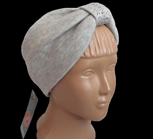 Весенняя трикотажная повязка на голову со стразами, серая с бежевым оттенком
