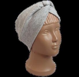 Весенняя трикотажная повязка на голову чалма, серая с бежевым оттенком