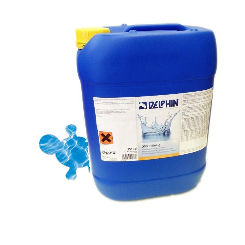 Безхлорное средство для бассейна Delphin 3000 жидкий 22л. Активный кислород с альгицидом