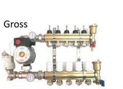 """Коллектор для теплого пола GROSS 1""""x8 с расходомером и евроконусом"""