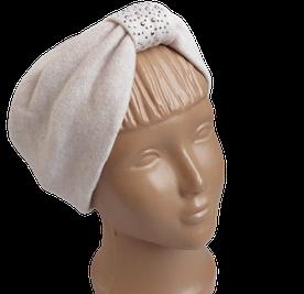 Весенняя трикотажная повязка на голову чалма с камнями, пудра светлая