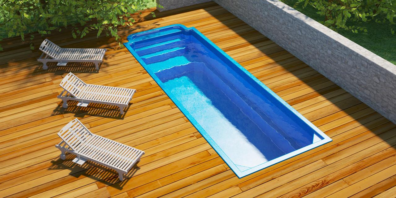 Бассейн композитный Favorit 8,30 х 2,90 х 1,050/1,50м с площадкой перепада глубины