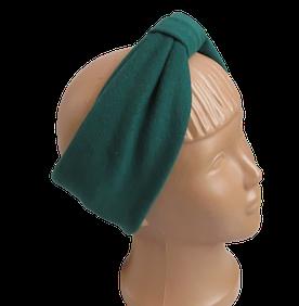 Весенняя трикотажная повязка на голову, зеленая
