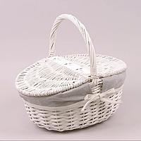 Кошик для пікніка білого кольору  30*40*16см/ висота з ручкою 35см