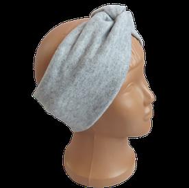 Весенняя трикотажная повязка на голову чалма, серая