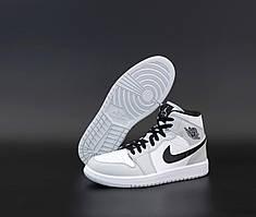 Высокие баскетбольные кроссовки Nike Air Jordan 1 Mid Grey Retro (Найк Аир Джордан Ретро серого цвета 36-45)