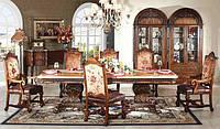 Дубовый стол с мраморной столешницей
