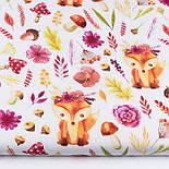 """Клапоть тканини """"Лисички у віночках, квіти, гриби, гілочки"""" на білому фоні (№3357), розмір 39*80 см, фото 2"""