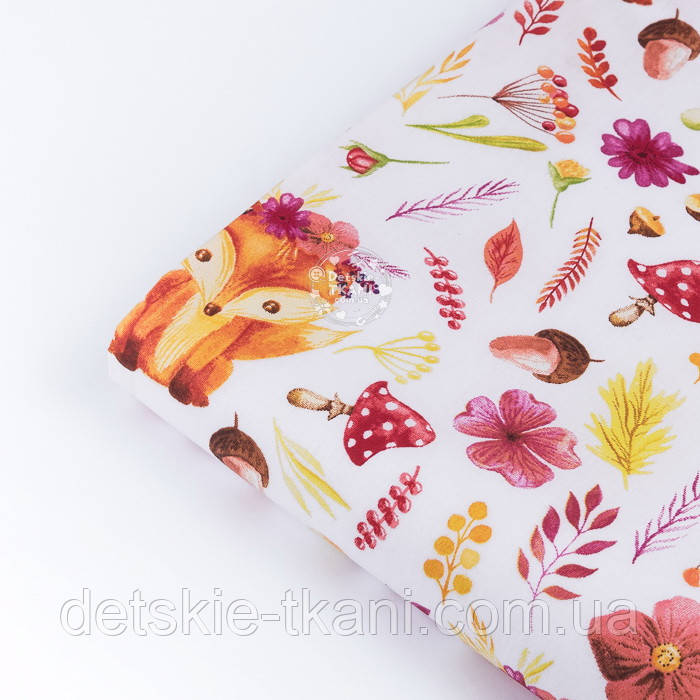 """Клапоть тканини """"Лисички у віночках, квіти, гриби, гілочки"""" на білому фоні (№3357), розмір 39*80 см"""