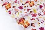 """Клапоть тканини """"Лисички у віночках, квіти, гриби, гілочки"""" на білому фоні (№3357), розмір 39*80 см, фото 4"""