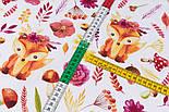 """Клапоть тканини """"Лисички у віночках, квіти, гриби, гілочки"""" на білому фоні (№3357), розмір 39*80 см, фото 5"""