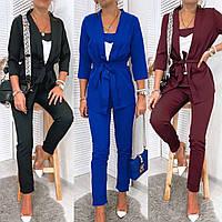 Костюм 3-ка женский, брючный, повседневный, модный, классический, офисный, деловой, от 42 до 54 р