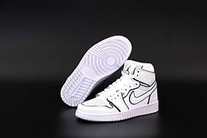 Высокие баскетбольные кроссовки Nike Air Jordan 1 Mid White (Рефлективные кроссовки Найк Джордан белого цвета)