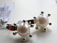 Серьги серебряные с золотыми вставками и культивированым жемчугом