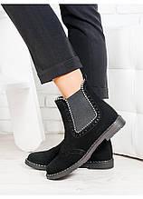 Ботинки Челси с бусами замшевые зимние