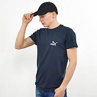 Мужская футболка с светоотражайкой Puma (реплика)  на груди и спине  Синий, фото 1