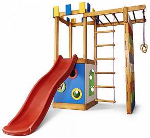 Уличная детская площадка с песочницей, горкой, лесенкой, рукоходом, стенойдля скалолазаниядля дачи и дома