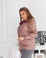 Демисезонная женская курточка с капюшоном, застегивается на молнию с 48 по 58 размер, фото 3