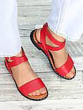 Босоножки женские красная кожа, фото 4