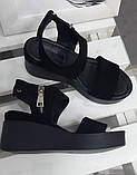 Босоніжки жіночі чорна замша на платформі, фото 5