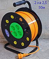 Удлинитель на катушке 50 метров SVITTEX, сечение провода 2х2,5 мм² с термозащитой