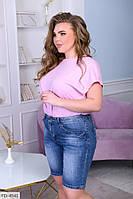 Модные стильные женские шорты джинсовые из стрейч джинса больших размеров 52,54,56,58,60 арт 1041/869