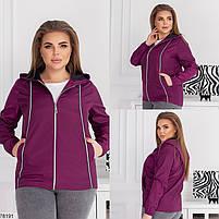 Коротка жіноча куртка з капюшоном і кишенями, застібається на блискавку з 48 по 62 розмір, фото 2