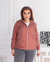Коротка жіноча куртка з капюшоном і кишенями, застібається на блискавку з 48 по 62 розмір, фото 3