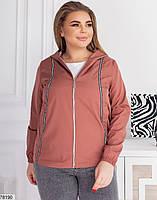 Коротка жіноча куртка з капюшоном і кишенями, застібається на блискавку з 48 по 62 розмір, фото 7