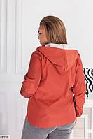Коротка жіноча куртка з капюшоном і кишенями, застібається на блискавку з 48 по 62 розмір, фото 4