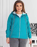 Коротка жіноча куртка з капюшоном і кишенями, застібається на блискавку з 48 по 62 розмір, фото 5