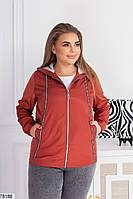 Коротка жіноча куртка з капюшоном і кишенями, застібається на блискавку з 48 по 62 розмір, фото 9