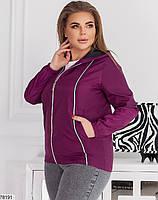 Коротка жіноча куртка з капюшоном і кишенями, застібається на блискавку з 48 по 62 розмір, фото 8