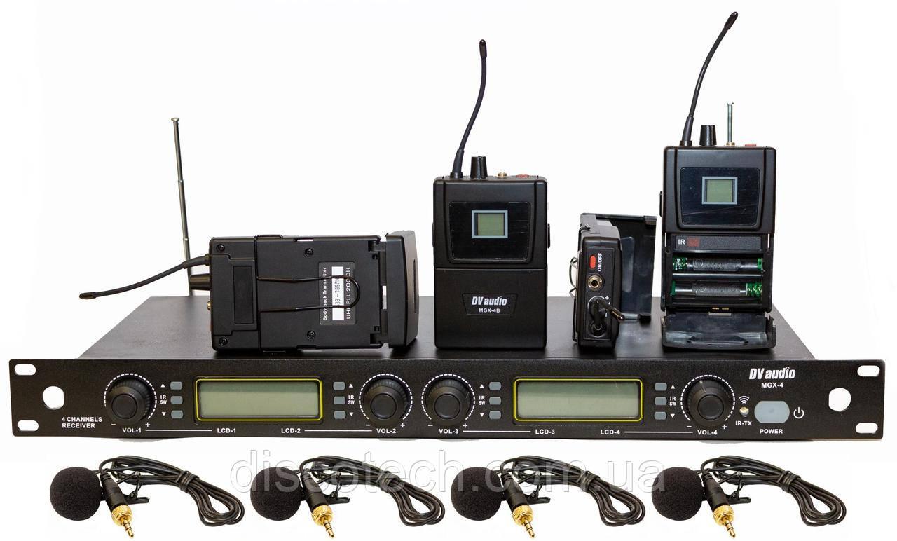 Радиосистема с гарнитурами телесного цвета или с петличными микрофонами черного цвета, UHF