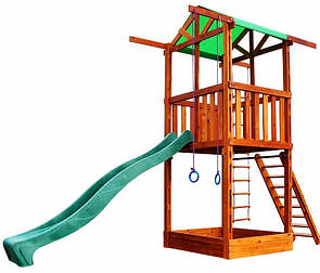 Уличная детская площадкас горкой, кольцами, песочницей, лесенкойдля дачи и дома