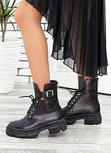 Берцы женские ботинки черная натуральная кожа весна осень