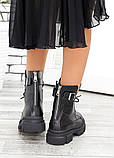 Берцы женские ботинки черная натуральная кожа весна осень, фото 2