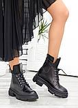 Берцы женские ботинки черная натуральная кожа весна осень, фото 4