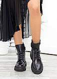 Берцы женские ботинки черная натуральная кожа весна осень, фото 5