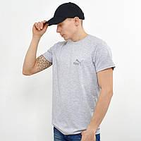 Чоловіча футболка з светоотражайкой Puma (репліка) на грудях і спині Світлий сірий, фото 1