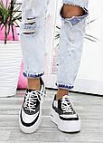 Кроссовки женские кожаные на высокой подошве 7618-28, фото 5